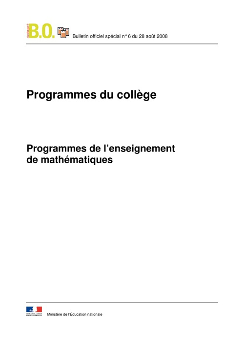 Programme de mathématiques au collège
