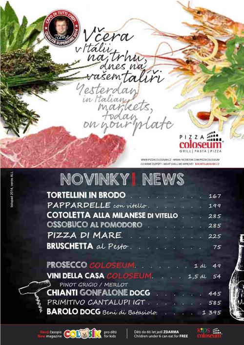 Pizza Coloseum - jídelní, nápojový a vinný lístek