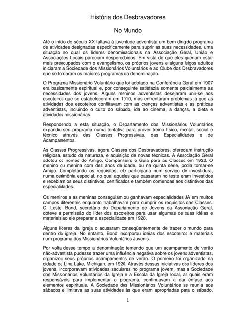 História dos Desbravadores - vol. 1