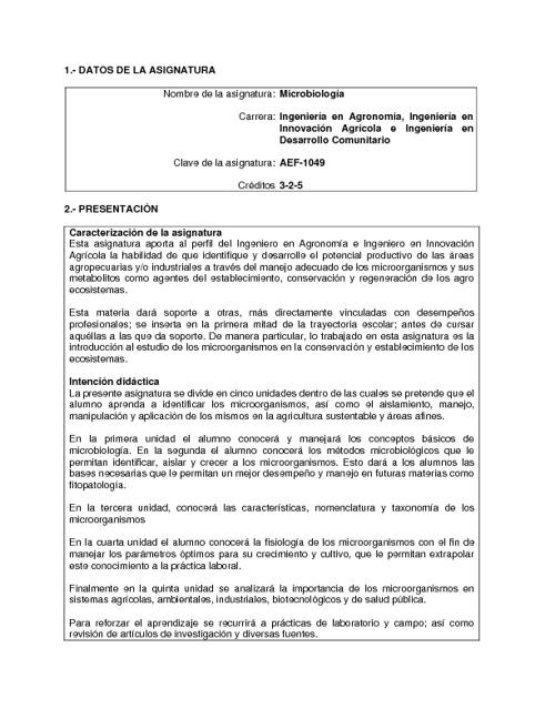 PROGRAMA DE ESTUDIOS DE MICROBIOLOGIA