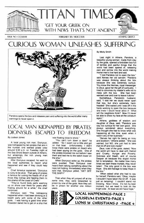 5th Greek Mythology Newspaper 2011-12