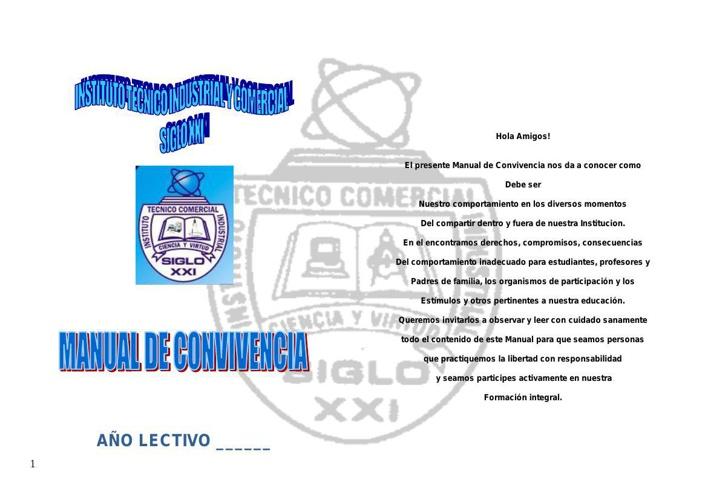 MANUAL DE CONVIVENCIA-VERSION-2015 ITIC SIGLO XXI CALI