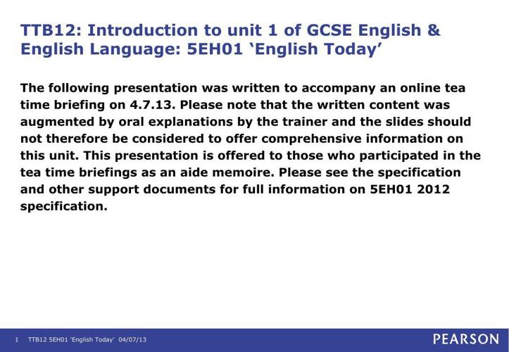 Edexcel English Unit 1