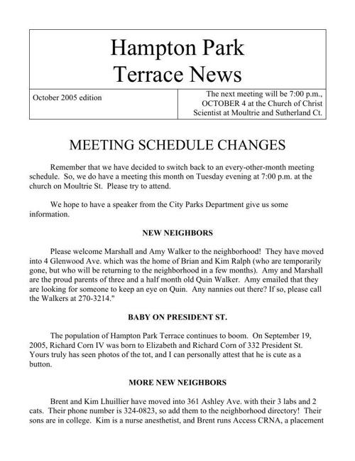 HPT Newsletter October 2005