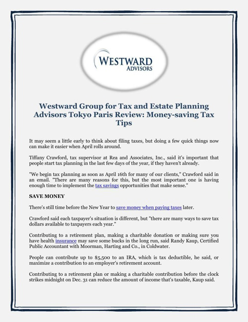 Westward Group for Tax and Estate Planning Advisors Tokyo Paris