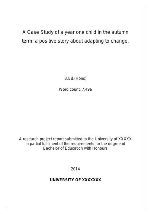 Dissertation: Exemplar 5 Birth Effect - case study