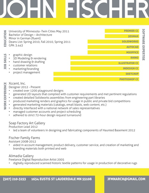 John Fischer 2014 Resume + Work Samples