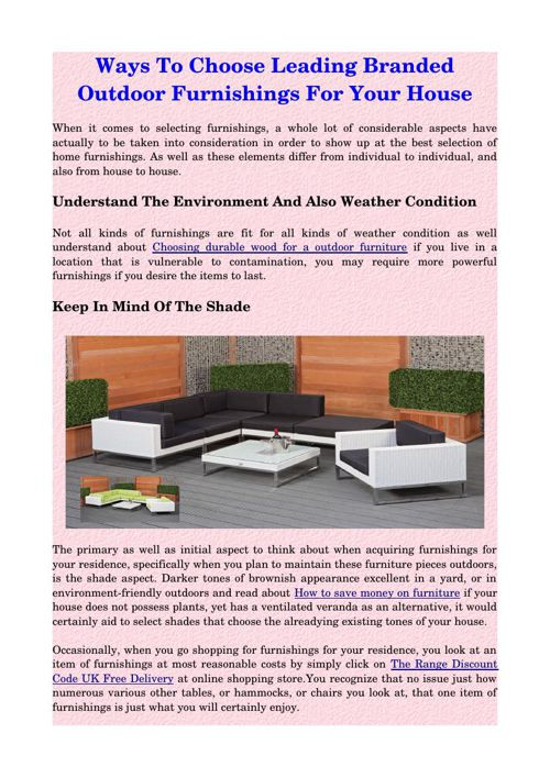 Ways To Choose Leading Branded Outdoor Furnishings For Your Hous