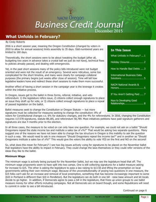 December 2015 Business Credit Journal