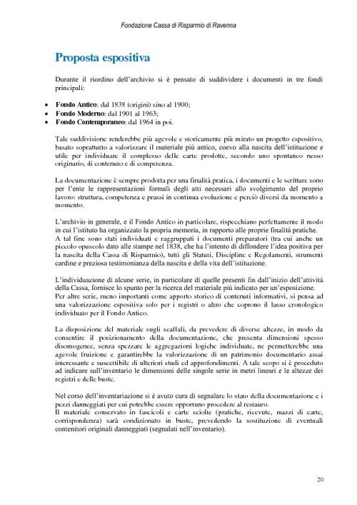Cassa di Risparmio di Ravenna - Proposta espositiva