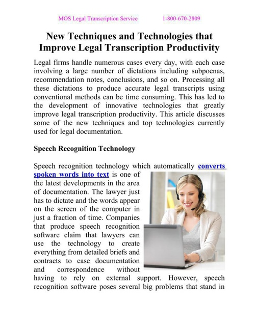 New Techniques and Technologies that Improve Legal Transcription
