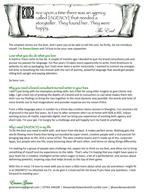 Emma Green - CV and cover letter