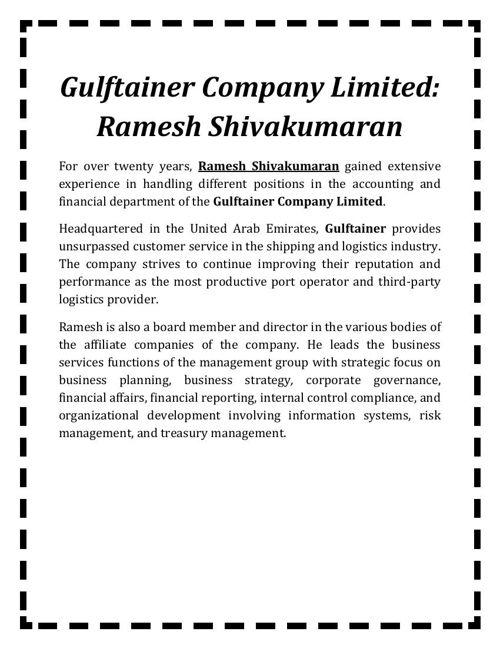 Gulftainer Company Limited - Ramesh Shivakumaran