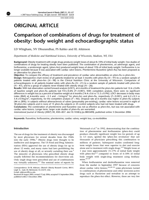 Comparison of combinations of drugs for treatment of obesity: bo