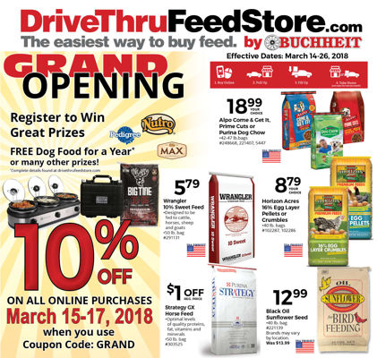 Drive Thur Feed Store March 14-26, 2018