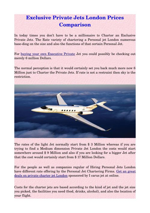 Exclusive Private Jets London Prices Comparison