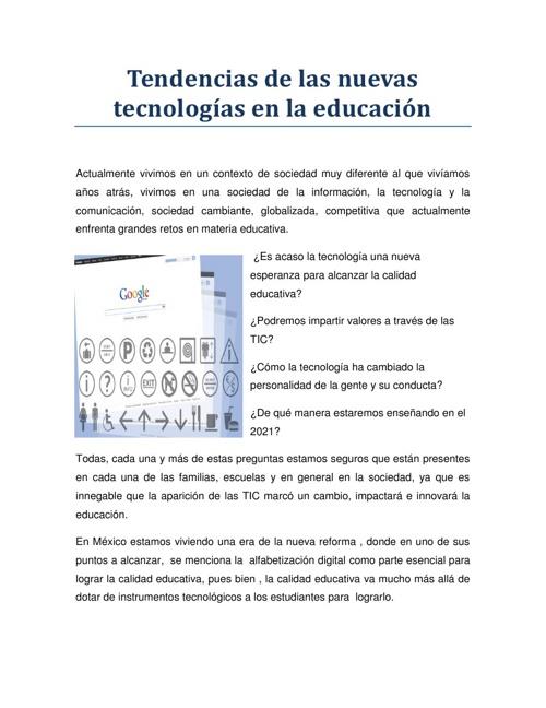 Tendencias de las nuevas tecnologías en educación