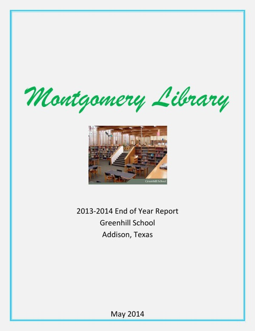 Montgomery Library EOY Report 13-14