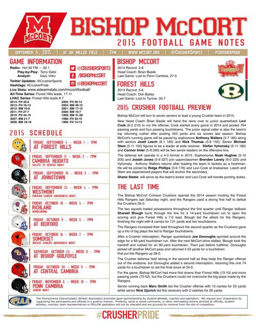 Week 1 Game Notes vs Forest Hills