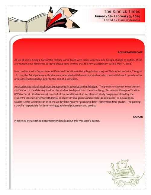 KHS Newsletter - Jan 20 - Feb 3