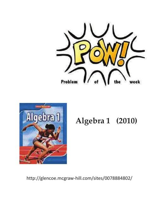 Algebra 1 (2010) Problem of the Week Ebook (Glencoe)