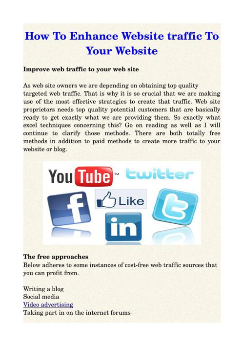 How To Enhance Website traffic To Your Website