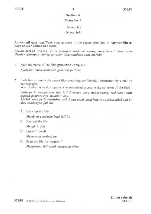 SOALAN ICT SPM 2008