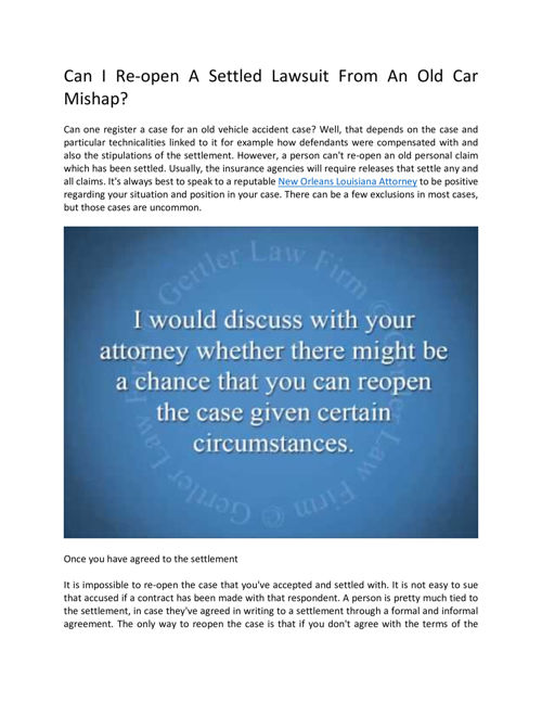Is It Possible To Reopen An Older Settled Car Accident Lawsuit