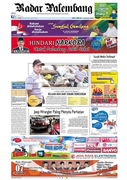 Radar Palembang Edisi 07-03-2013 Koran 1