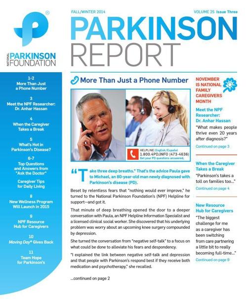 Fall/Winter 2014 Parkinson Report
