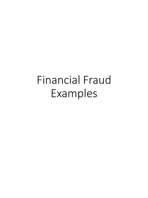 Examples of Fraud Investigations