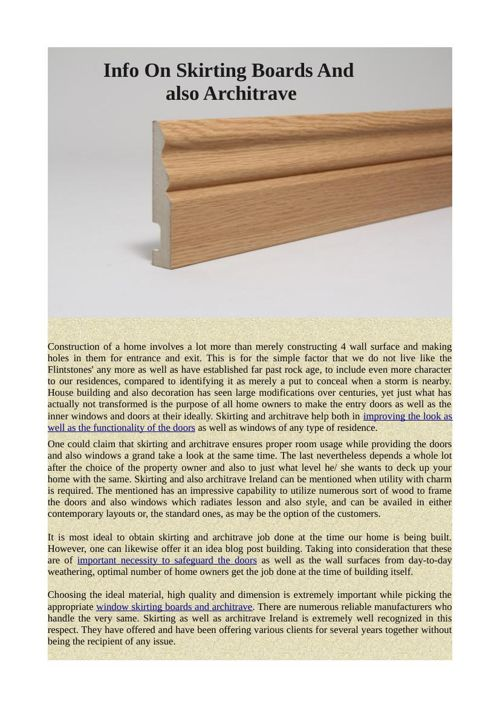Info On Skirting Boards And also Architrave