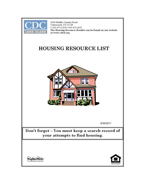 Housing Resource Booklet Updated 8.30.17