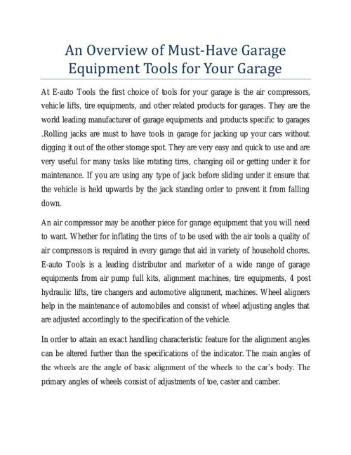 An Overview of Must-Have Garage Equipment Tools for Your Garage
