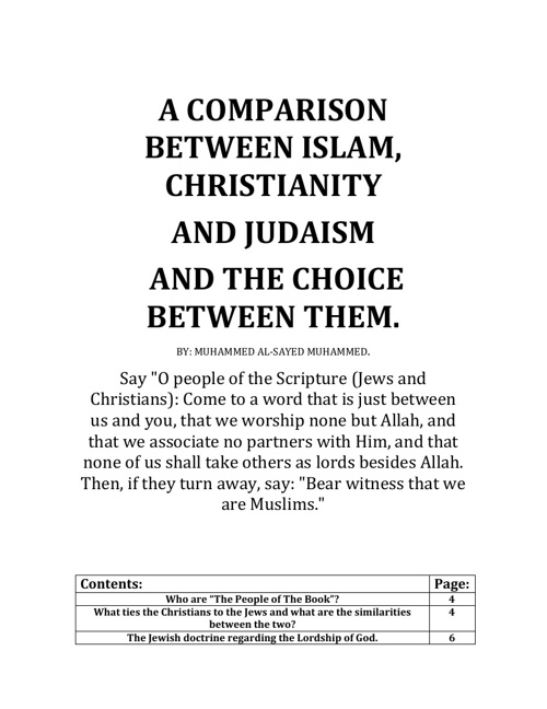 A Comparison between Islam, Christianity and Judaism