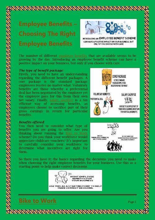 Employee Benefits – Choosing The Right Employee Benefits