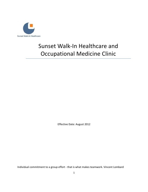 Sunset Walk-In Employee Handbook
