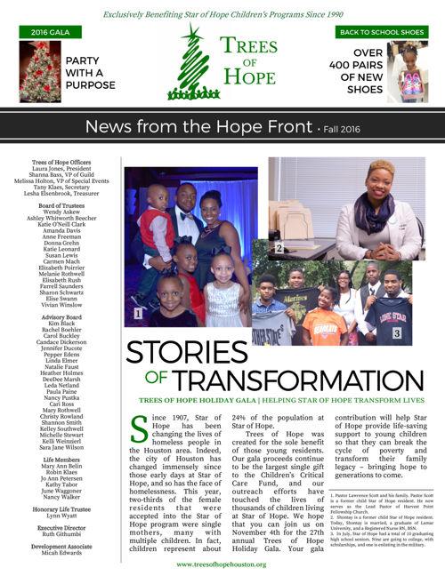 Trees of Hope Fall 2016 Newsletter