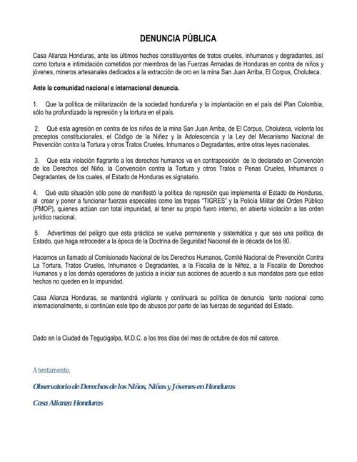 Casa Alianza Honduras-Denuncia Pública