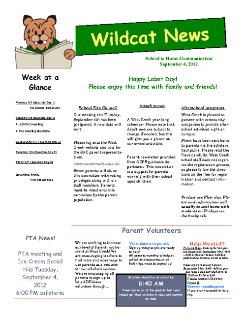 Wildcat Weekly 9-4-12