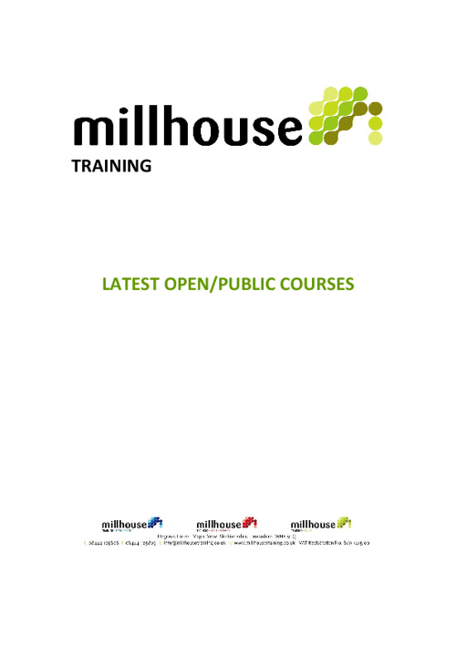 Millhouse Training Upcoming Courses - November 2011