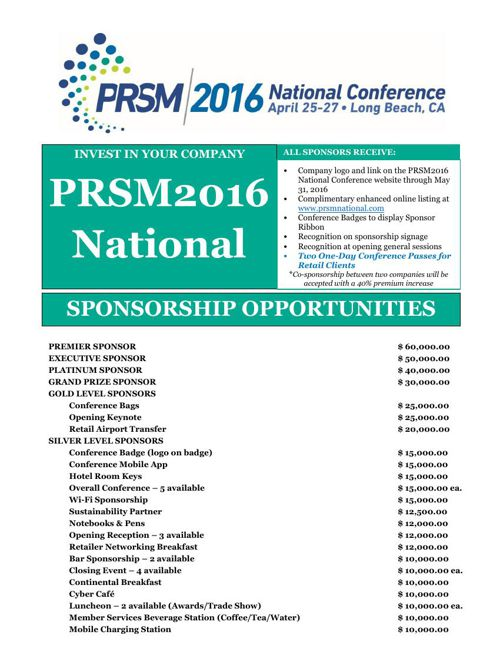 PRSM2016 Sponsorships Opportunities