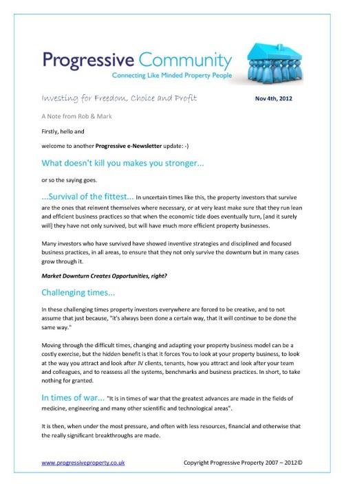 Progressive Property Newsletter, 4th November 2012