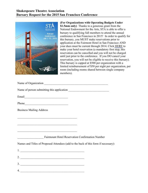 2015 San Francisco Conference Bursary Form
