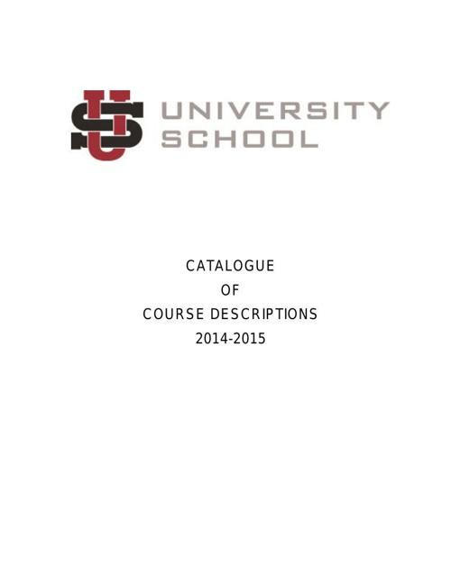 Course Catalog 2014-2015