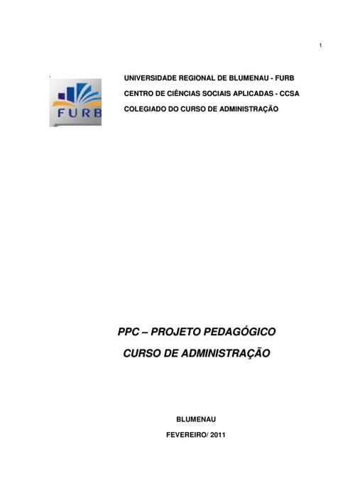 ADM - PPC DO CURSO DE ADMINISTRAÇÃO