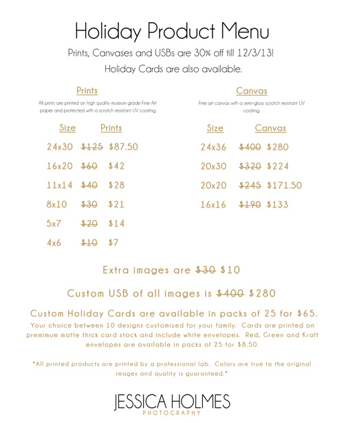 Jessica Holmes Photography Holiday Pricing Menu 2013