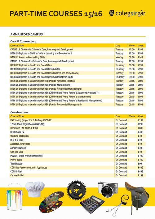 Part-time Courses Leaflet 2015-16