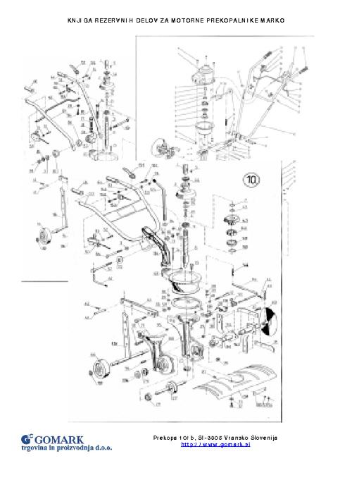 Knjiga rezervnih delov za motorni prekopalnik MARKO