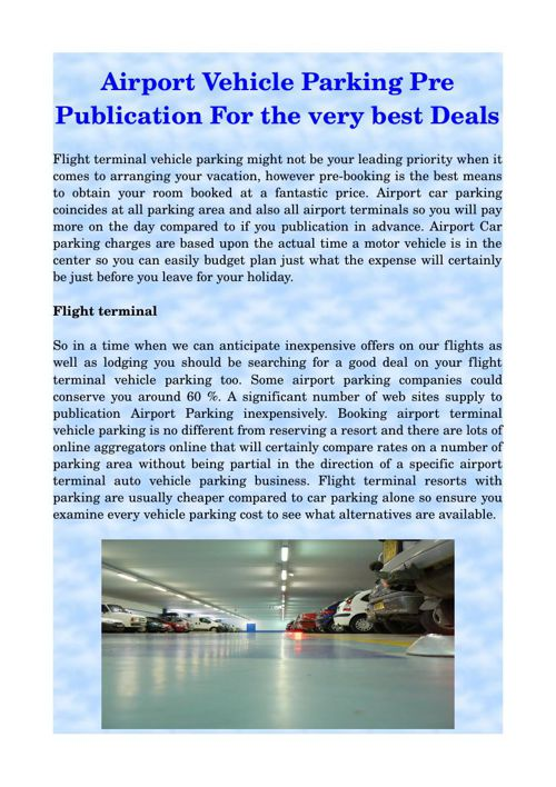 Airport Vehicle Parking Pre Publication For the very best Deals